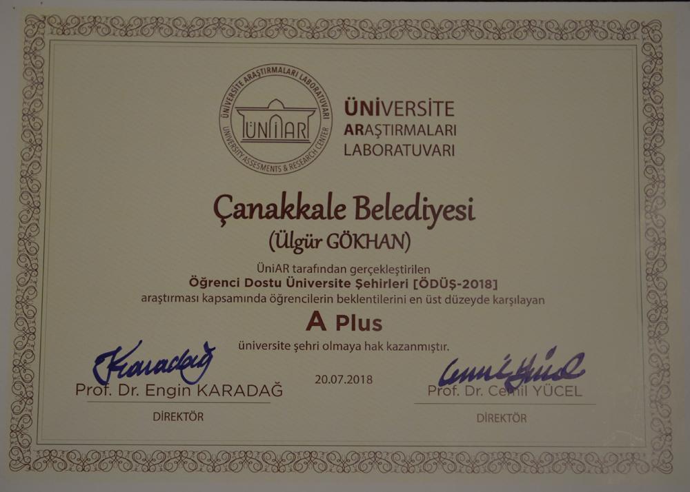 """Çanakkale Belediyesine """"A Plus"""" Ödül"""