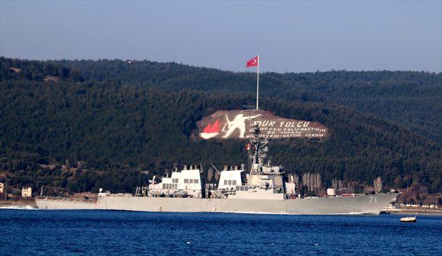 Amerikan Savaş Gemisi Çanakkale Boğazı'ndan Geçti