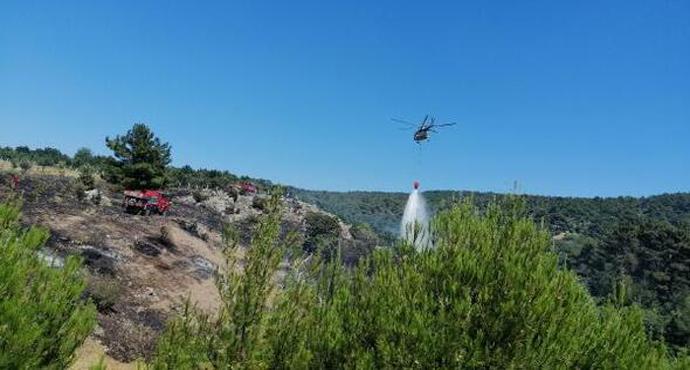 Ayvacık'ta, 3 hektarlık tarım arazisi yandı