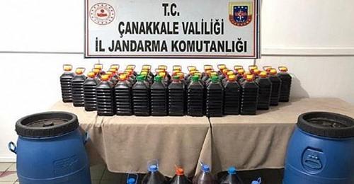 Bayramiç'te 305 Litre Kaçak Şarap Ele Geçirildi