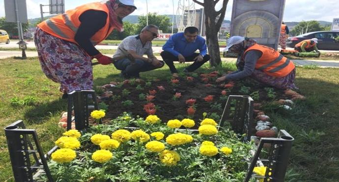 Çan'da Park ve Bahçeler Çiçek açtı