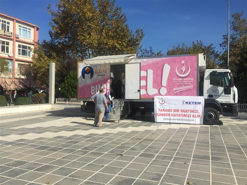 Mobil Kanser Tarama Aracı Bayramiç İlçesinde