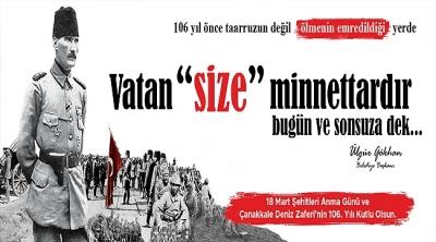 Başkan Gökhan'ın 18 Mart Şehitleri Anma Günü ve Çanakkale Deniz Zaferi'nin 106. Yıldönümü Mesajı