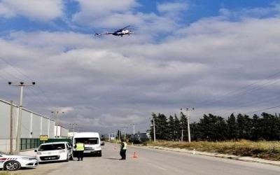 Çanakkale'de Havadan Helikopterle Trafik Denetimi