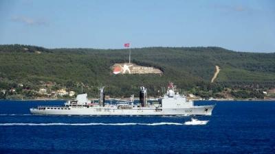 Fransız Savaş Gemisi 'FS Var', Çanakkale Boğazı'ndan Geçti