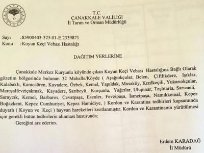 Tarım İl Müdürlüğü'nden 32 Köy ve Mahalleye Karantina Açıklaması